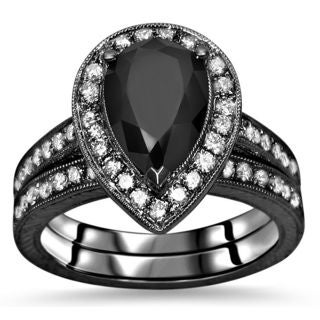 Noori 14k Black Gold 2 3/5ct TDW Black Pear Diamond Engagement Ring Set (G-H, SI1-SI2)