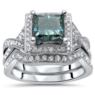Noori 18k White Gold 1 9/10ct TDW Blue Princess Diamond Engagement Ring Set