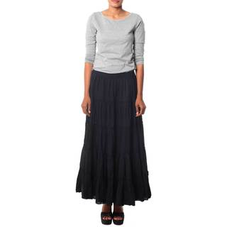 Handmade Cotton 'Midnight Frills' Skirt (India)