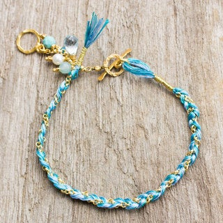 Gold Overlay 'Blue Peace' Multi-gem Pearl Bracelet (4mm) (Thailand)