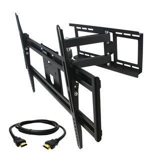 MegaMounts Full Motion Wall Mount with Bubble Level for 32-70-inch Displays with HDMI Cable