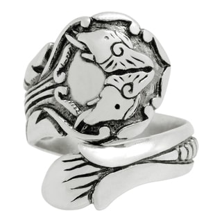 Silver-Wear Swirls Sterling Silver Antique Finish Diametrical Elephants Spoon Ring