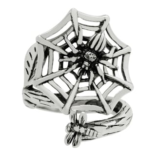 Silver-Wear Swirls Sterling Silver Antique Finish Entrancing Spider Web Spoon Ring