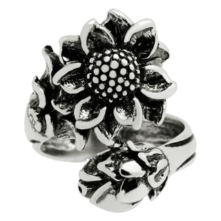 Silver-Wear Swirls Sterling Silver Antique Finish Blossoming Sunflower Spoon Ring