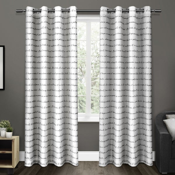 ATI Home Exclusive Home Typography Grommet Top Curtain Panel Pair ...