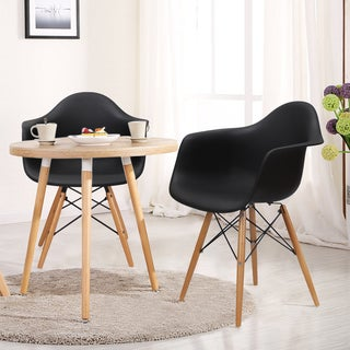 Adeco Plastic Armchair with Wooden Legs (Set of 2)