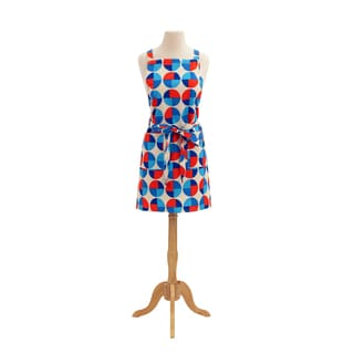 Red and Blue Circles Retro Print Cotton Butcher's Apron