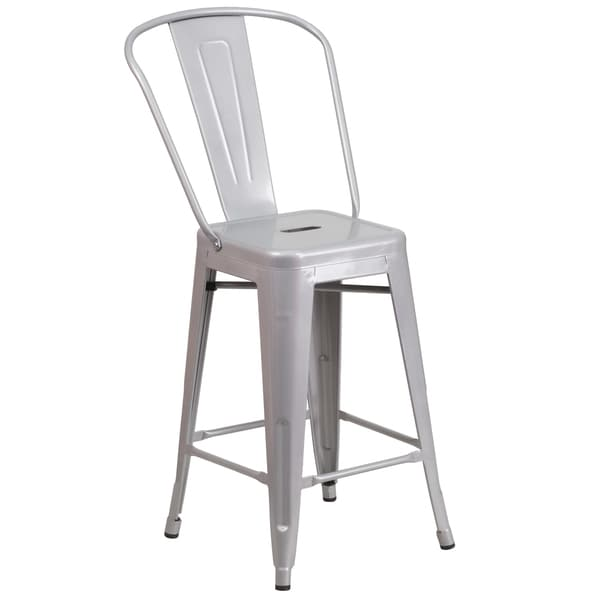 24 Inch Metal Indoor Outdoor Counter Height Stool Free