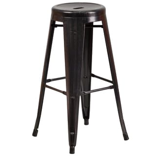 No Back Antique Metal Barstool