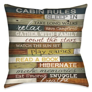 Laural Home Rules of the Cabin Decorative 18-inch Throw Pillow