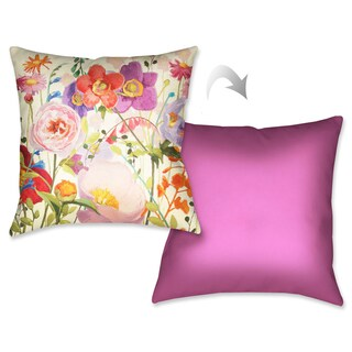 Laural Home Pink Meadow I Decorative 18-inch Throw Pillow