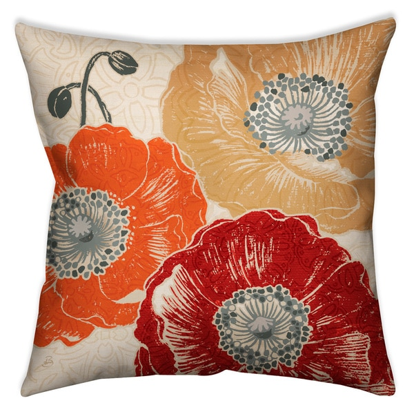 Laural Home Poppies I Decorative 18-inch Throw Pillow