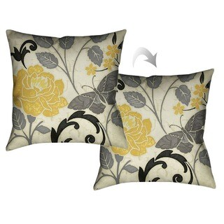 Laural Home Yellow Rose II Decorative 18-inch Throw Pillow
