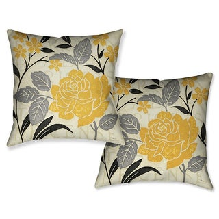 Laural Home Yellow Rose I Decorative 18-inch Throw Pillow