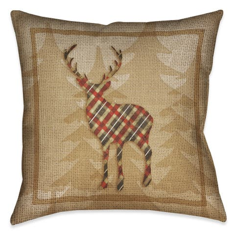 Laural Home Rustic Cabin Deer Plaid Decorative 18-inch Throw Pillow