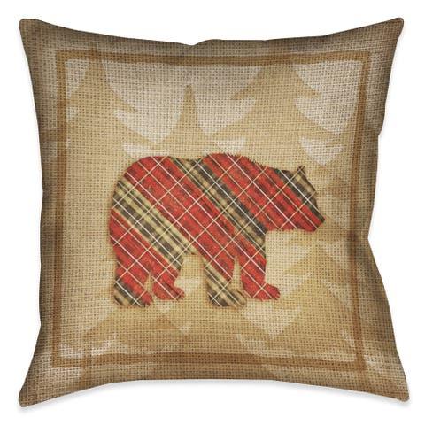 Laural Home Rustic Cabin Bear Plaid Decorative 18-inch Throw Pillow