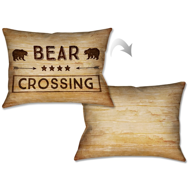 Shop Laural Home Rustic Cabin Bear Crossing Decorative Pillow 40x40 Interesting Cabin Decor Throw Pillows