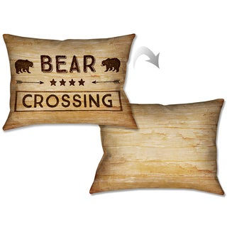 Laural Home Rustic Cabin Bear Crossing Decorative Pillow 14x20