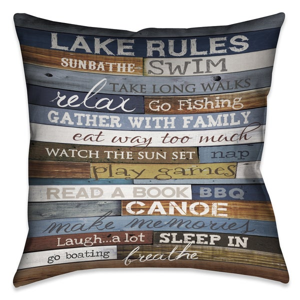 Laural Home Rules of the Lake Decorative 18-inch Throw Pillow