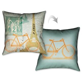 Laural Home Paris Postcard I Decorative 18-inch Throw Pillow