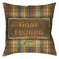 Laural Home Out Fishing Decorative 18-inch Throw Pillow