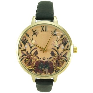 Floral Thin Faux Leather Band Roman Numerals Watch