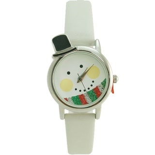Christmas Snowman Watch White Faux Leather Band
