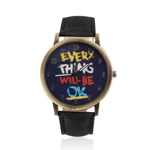 Message Watch 'Everything Will Be OK' with Faux Leather Band