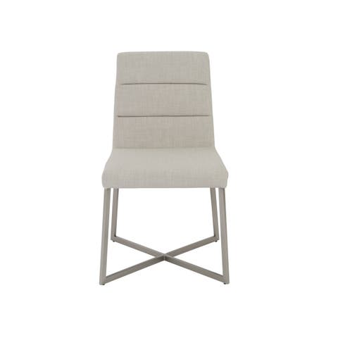 Tosca Light Grey/ Stainless Steel Dining Chairs (Set of 2)