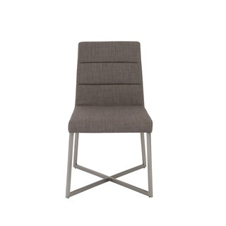 Tosca Dark Grey/ Stainless Steel Side Chairs (Set of 2)