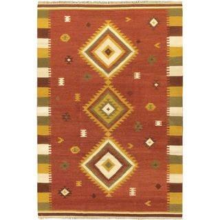 ecarpetgallery Kashkoli Kilim Red Wool Rug (6' x 9')