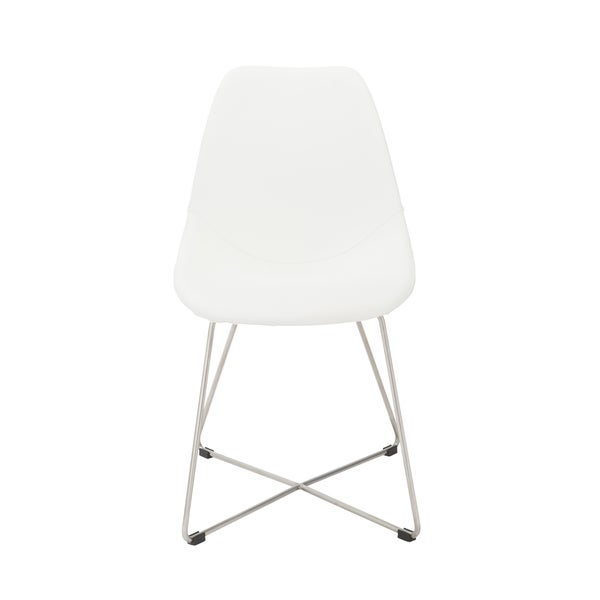 Shop Anahita White Brushed Stainless Steel Dining Chairs