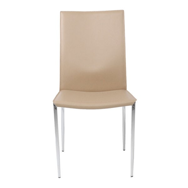 Max Tan Leather/ Chrome Dining Chairs (Set Of 2)