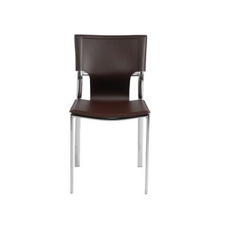 Vinnie Brown Leather/ Chrome Side Chairs (Set of 4)