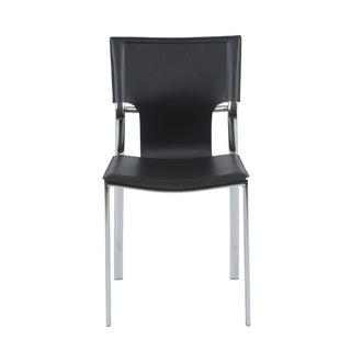 Vinnie Black Leather/ Chrome Dining Chairs (Set of 4)