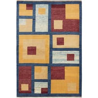 ecarpetgallery Peshawar Ziegler Blue Yellow Wool Rug - 5' x 8'