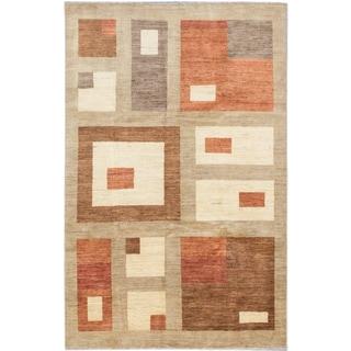 ecarpetgallery Peshawar Ziegler Beige Brown Wool Rug (5' x 8')