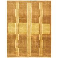 ecarpetgallery Peshawar Ziegler Brown Wool Rug (7' x 10') - 7' X 10'
