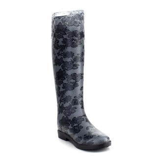 Beston Women's Rainbow Embossed Knee High Rain Boots