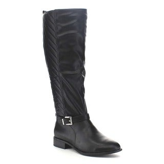 Beston BA24 Women's Buckle Strap Side Zipper Chevron Back Knee High Riding Boots