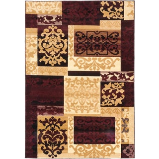 ecarpetgallery Crown Beige Red Rug (3' x 5')