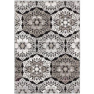 ecarpetgallery Crown Black Grey Rug (3' x 5')