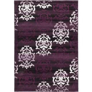 ecarpetgallery Crown Black Purple Rug (5' x 7')