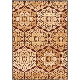 ecarpetgallery Crown Beige Red Rug (5' x 7')