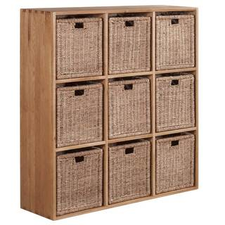Vancouver Solid Oak Cube with Nine Jute Baskets