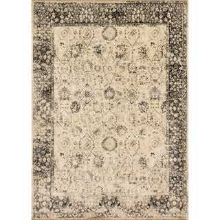 Traditional Distressed Beige/ Charcoal Grey Floral Rug - 12' x 15'