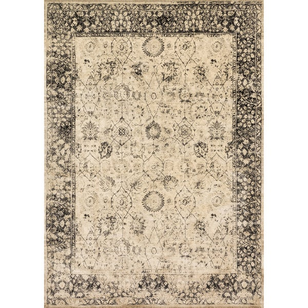 """Traditional Distressed Beige/ Charcoal Grey Floral Rug - 9'2"""" x 12'2"""""""