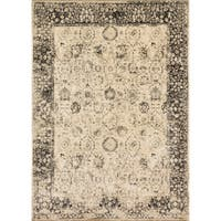 Traditional Distressed Beige/ Charcoal Grey Floral Rug - 7'6 x 10'6