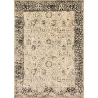 Traditional Distressed Beige/ Charcoal Grey Floral Rug - 5' x 7'6