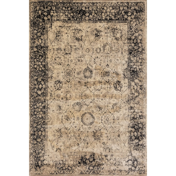 Traditional Distressed Beige/ Charcoal Grey Floral Rug - 3'3 x 5'3